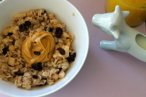 Baked-Apple-Oatmeal-by-the-Fitness-Dish-with-OJ-and-non-fat-milk