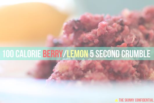 recipe for 100 calorie lemon berry crumble by Lauryn Evarts of The Skinny Confidential