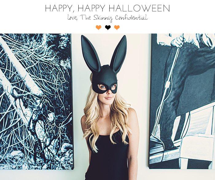 bunny ear mask: boo happy halloween