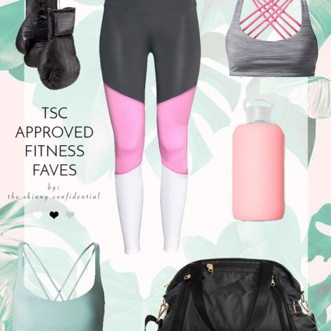 seriously cute fitness gear: boxing gloves, leggings, gym bag, sports bra, & water bottle.