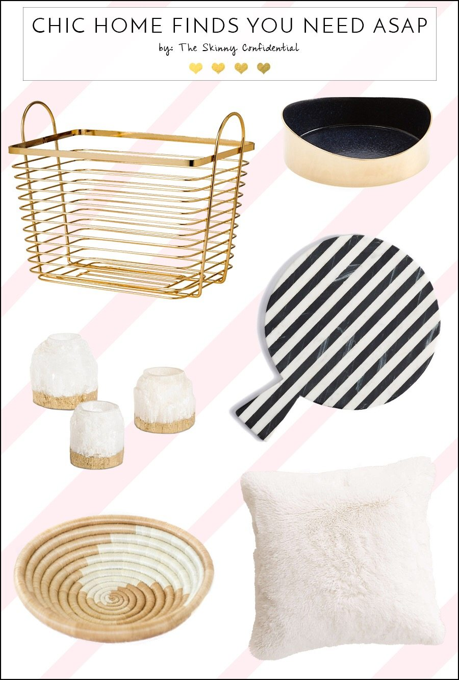 Super chic home decor finds you're definitely going to want! A pillow, gold basket for laundry or storage, and more! by The Skinny Confidential