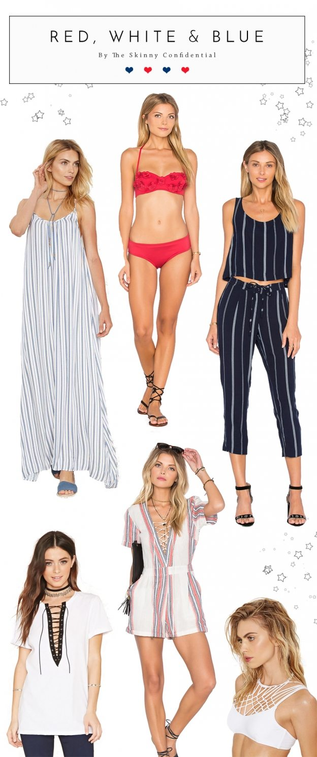 Super chic red white and blue outfits for the 4th of july. Look super cute on the fourth of July!