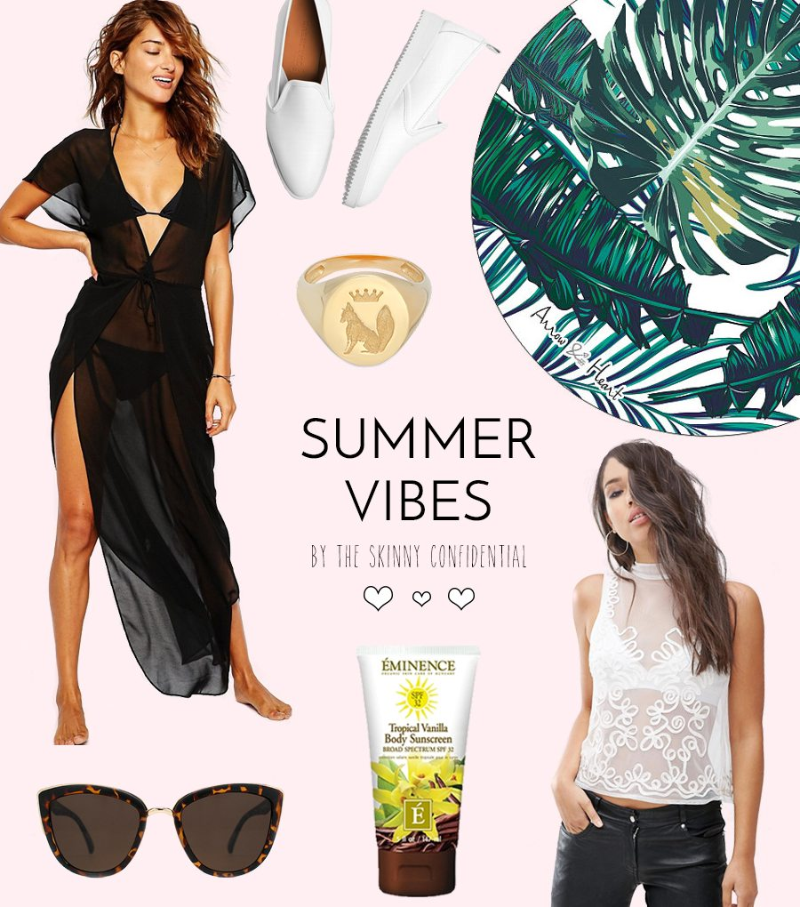 Tons of items with Summer vibes. Picked by Lauryn of The Skinny Confidential. Round palm print beach towel, sheer maxi, organic sunscreen, and more!