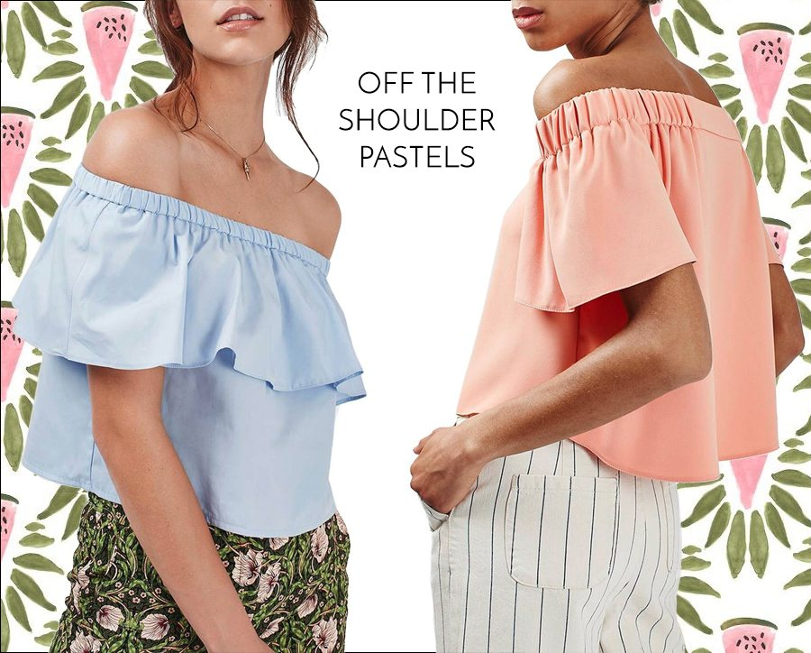 st tropez style - pastel off the shoulder tops | by the skinny confidential
