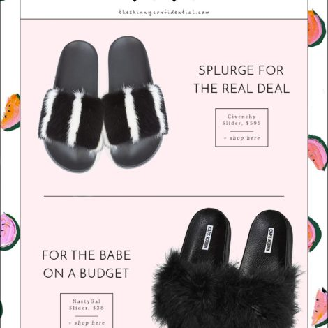 rich girl poor girl: fluffy sliders by the skinny confidential. givenchy black sliders, inexpensive black sliders