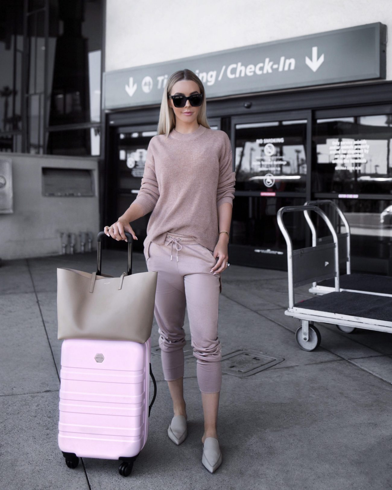 nude sweatshirt joggers pink suitcase | by the skinny confidential