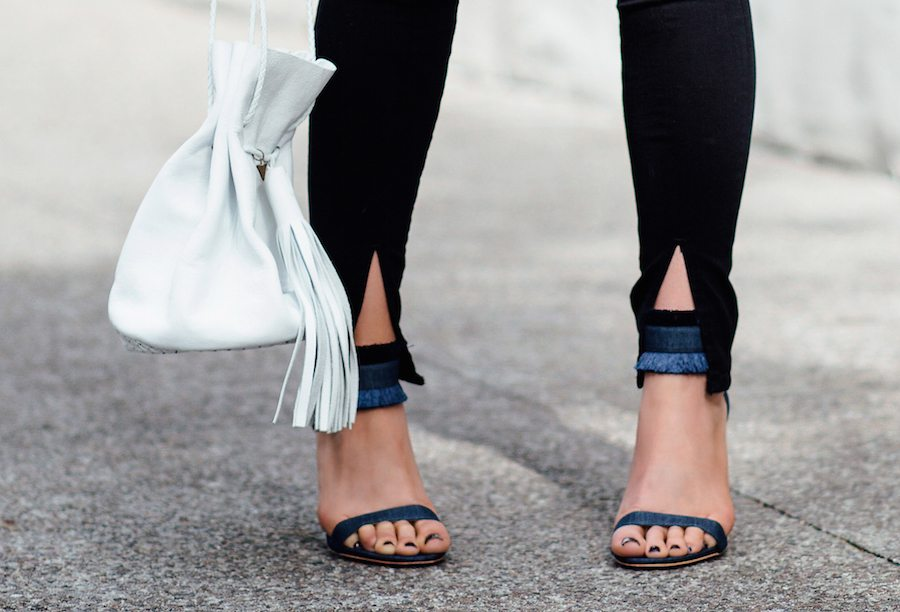 denim fringe sandals | by the skinny confidential