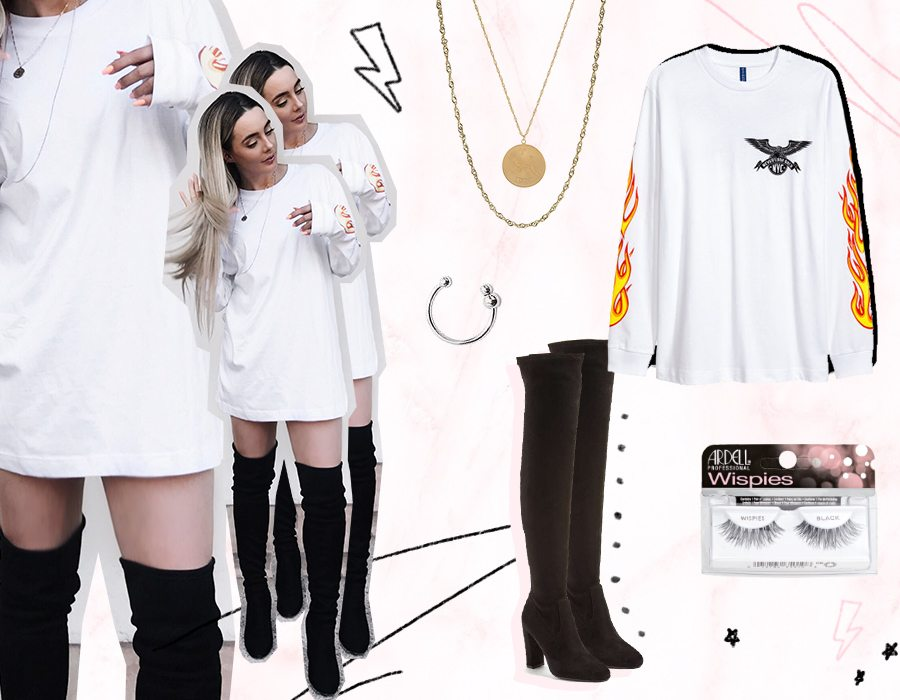 white flame sweater dress and boots