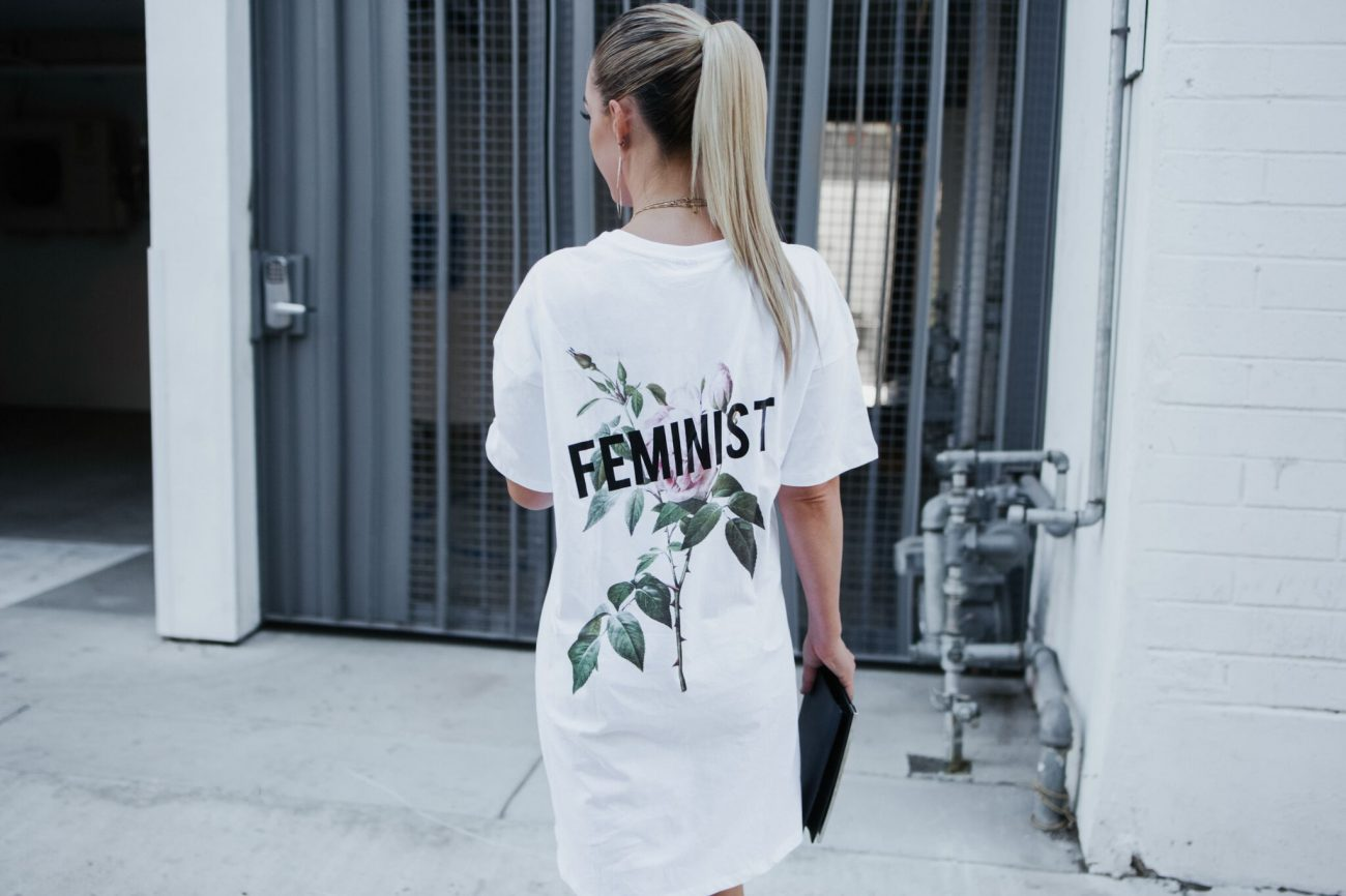 rose feminist logo tshirt dress