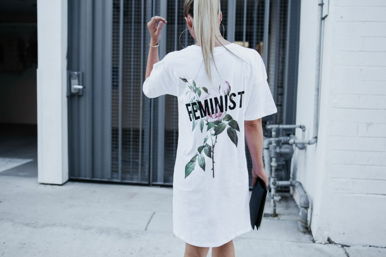 feminist asos white tee shirt dress