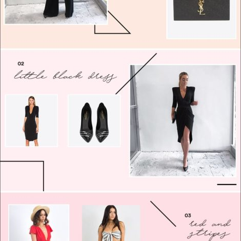 black jumpsuit dress ysl heels clutch