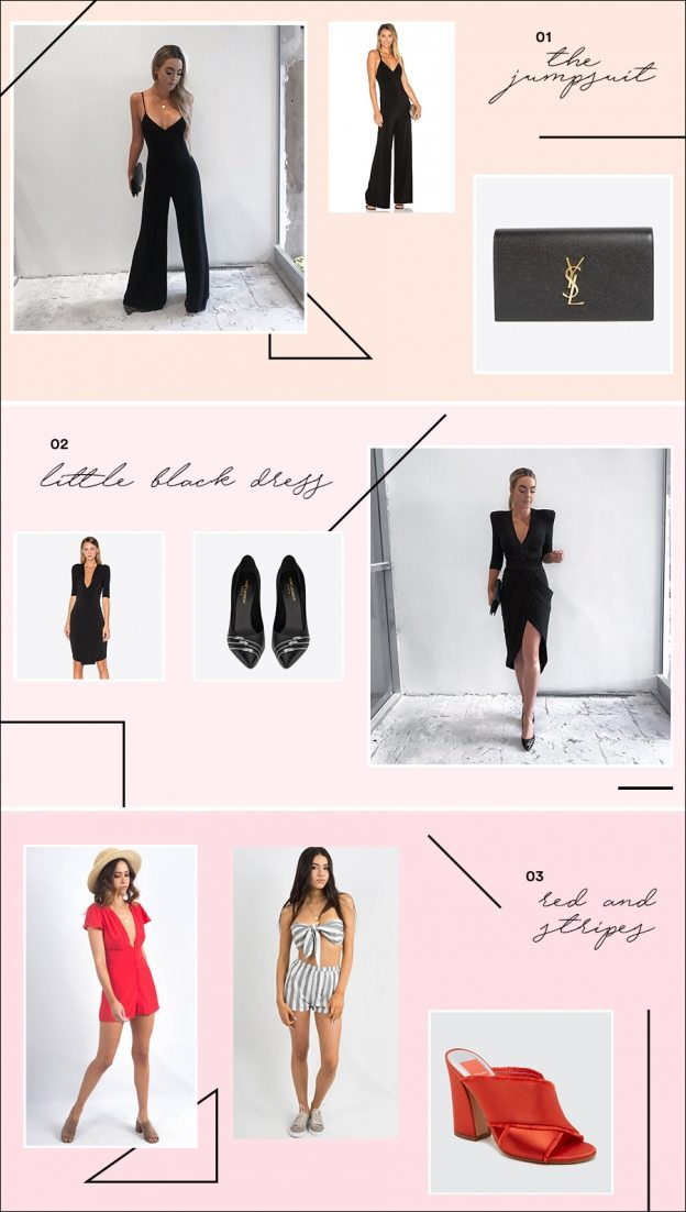 black jumpsuit dress ysl heels clutch