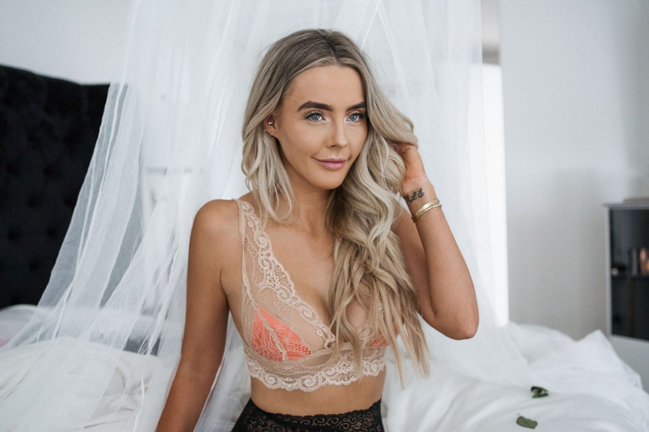 nude bra black lace underwear night time look by the skinny confidential